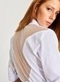 People By Fabrika Sırtı File Detaylı Gömlek Beyaz